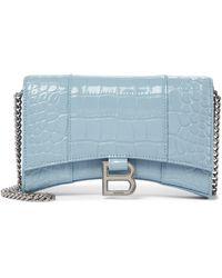 Balenciaga Borsa Hourglass Mini in pelle stampata - Blu