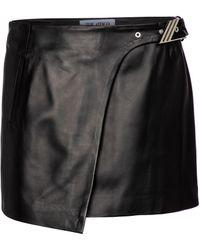 The Attico Minifalda de piel - Negro