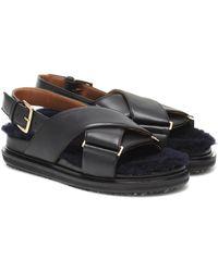 Marni Fussbett Shearling Leather Sandals - Black