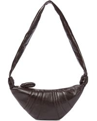 Lemaire Croissant Small Leather Shoulder Bag - Brown