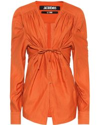 Jacquemus Zohra Linen And Cotton Shirt - Orange