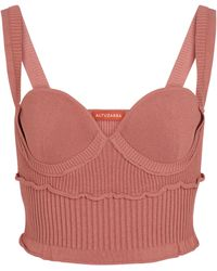 Altuzarra Piper Ribbed-knit Bustier Top - Pink