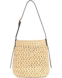 Prada Raffia Satchel Bag - Natural