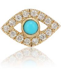 Sydney Evan Boucle d'oreille unique en or jaune 14 ct, diamants et turquoise Bezel Evel Eye Small - Métallisé