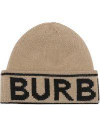 Burberry Logo-jacquard Cashmere Beanie - Natural