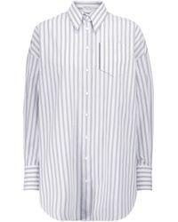 Brunello Cucinelli Chemise en popeline de coton stretch décorée - Blanc