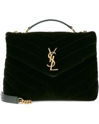 Saint Laurent - Small Loulou Monogram Velvet Shoulder Bag - Lyst
