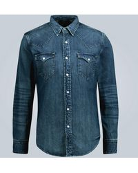 RRL Slim-fit Denim Shirt - Blue