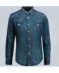 RRL Chemise slim en jean - Bleu