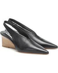 Jil Sander Leather Wedge Slingback Pumps - Black