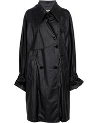 MM6 by Maison Martin Margiela Faux Leather Trench Coat - Black
