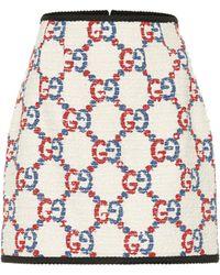 Gucci GG Tweed Miniskirt - White