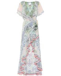 Camilla Embellished Floral Silk Maxi Dress - Natural
