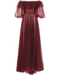 Valentino Robe De Soirée En Tulle Avec Poésie - Multicolore