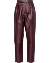 Khaite Pantalones Magdeline de piel - Morado