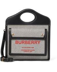 Burberry Sac Pocket Mini en toile et cuir - Noir