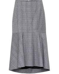 Balenciaga Falda midi de lana de cuadros - Gris