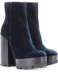 Jil Sander - Velvet Plateau Ankle Boots - Lyst