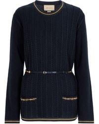 Gucci Embellished Wool-blend Sweater - Blue