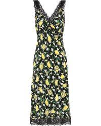 Diane von Furstenberg Issey Lace-trimmed Silk Crepe De Chine Slip - Black