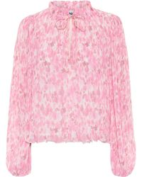Ganni Floral Georgette Blouse - Pink