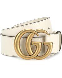 Gucci Gürtel GG aus Leder - Weiß