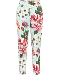 Dolce & Gabbana Floral-print Cropped Trousers - Blue