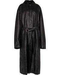 Balenciaga Mantel aus Leder mit Kapuze - Schwarz