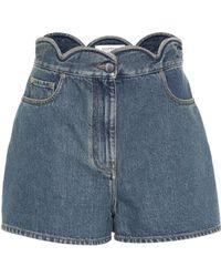 Valentino Scalloped Denim Shorts - Blue
