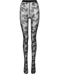 Saint Laurent Collants à fleurs - Noir