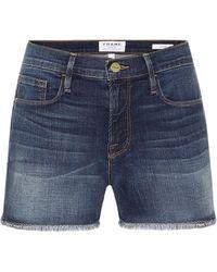 FRAME Le Cut Off Denim Shorts - Blue