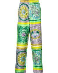Versace Pantalon de pyjama Barocco Mosaic en soie - Jaune