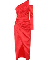 Rasario One-shoulder Satin Midi Dress - Red