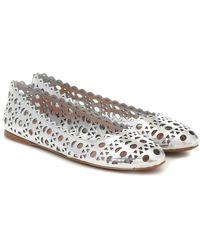 Alaïa Leather Ballet Flats - Metallic