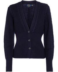 Polo Ralph Lauren Cardigan in lana a costine - Blu