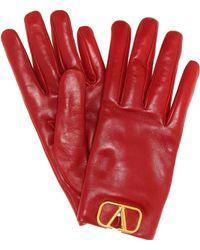 Valentino Vlogo Leather Gloves - Red