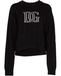 Dolce & Gabbana Logo Cashmere-blend Sweatshirt - Black