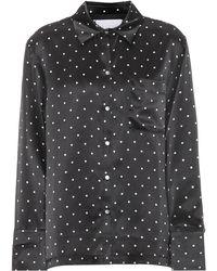 Asceno Pyjama-Oberteil aus Seide - Schwarz