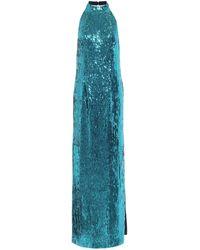 Galvan London Oceana Sequined Gown - Blue