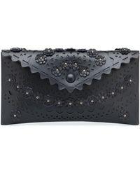 Alaïa Louise Embellished Leather Clutch - Blue