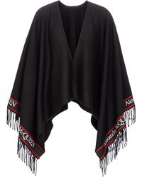 Alexander McQueen Logo Intarsia Wool And Cashmere Shawl - Black