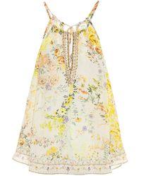 Camilla Top lencero de seda floral - Multicolor