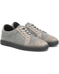 Max Mara Suede-trimmed Trainers - Gray