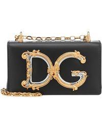 Dolce & Gabbana Sac à bandoulière DG Girls Small en cuir - Noir