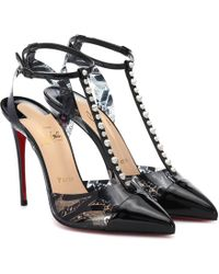 Christian Louboutin Nosy Spikes 100 Nicograf Patent Pumps - Black