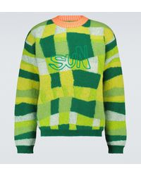 ERL Patchwork-Pullover mit Wollanteil - Grün