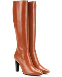 Saint Laurent - Lily 95 Leather Knee-High Boots - Lyst