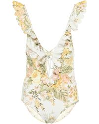 Zimmermann Amelie Floral Swimsuit - White