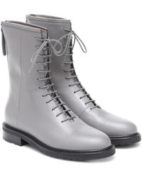 LEGRES Leather Combat Boots - Grey