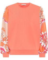 Emilio Pucci Silk-trimmed Cotton Sweatshirt - Pink